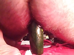 Hairy sissy gets a hole stretching