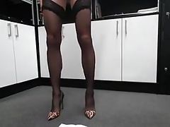 jerking in stockings and High Heels