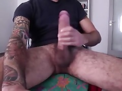 Hairy guy with big dick jerks off