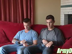 Beautiful army dudes Quentin Gainz and Johnny fucking hard
