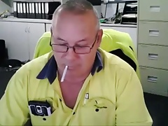 Dad smokes on cam play and cum