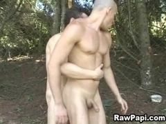 Bald poofter moans loudly while getting his ass banged outdoors