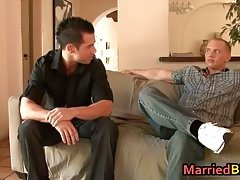 Married man intimidated by his first gay cock