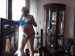 Naughty Gigi showing her new blue bikini