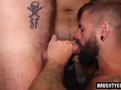 Hairy gay threesome with cumshot