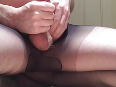 Wanking my cock in sheer tights