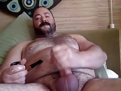 Cigar Smoking Daddy Bear Jerking Off & Cumming