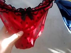 Cousin hanging her washed underwear
