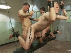 Van Darkholme and his buddy torture and mouth fuck two dudes