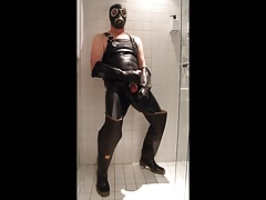 Wank and cum in Bullseye waders in the hotel shower
