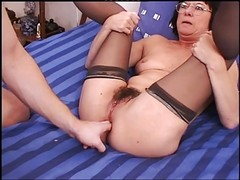 Gaping Rectal Granny in Stockings
