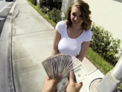 Girl bares her sexy zeppelins after getting money offerings