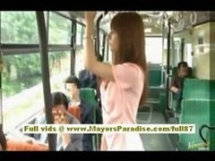 Rio asiatic teen babe getting her unshaved cum bucket fondled on the bus