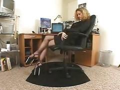 Horny Secretary  Black Pantyhose