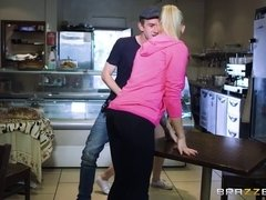 MILF and teen share Danny's humongous cock at the burger place