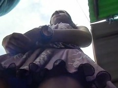 Kinky amateur fist fucked outdoors in a public par