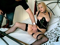 British Blonde Sub Floozy Chained Up and additionally Used