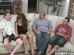 Braunhaarige, Gruppe, Hd, Schlampe, Titten, Ehefrau