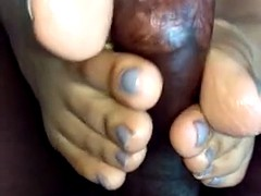 Taupe colored nails footjob