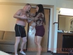 TOMIKO TIGHT BEARHUG ON FAT MAN