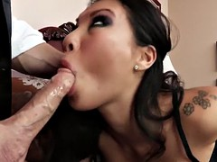 Oriental babe doggystyle buttfucked