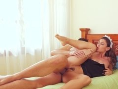 A Spanish maid with a nice rack is getting fucked on the bed