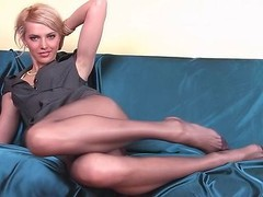 Underweight gal with long pantyhose legs
