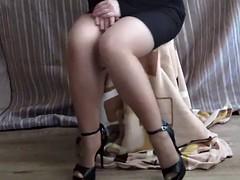 Beautiful legs,upskirt,handjob