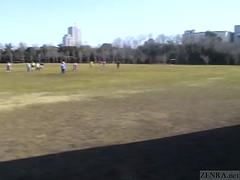 Subtitled Japanese public nudity peeing and then soccer game
