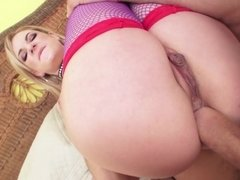 A blonde opens her tight round ass for anal penetration
