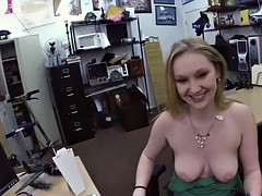 Blonde girl pounded for a pearl necklace