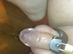 prostate milking in chasity with dripping precum