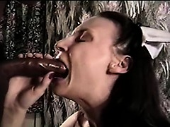 A large black fuckstick is treated by sexy nurse