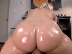 Big oiled booty babe Kimmy Olsen fucked in her wet snatch