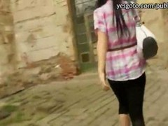 Nasty rookie Czech chick flashes her nice jugs and additionally asshole railed by stranger in a historical place in Europe