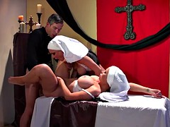 Two busty chaste nuns Jessica Jaymes & Nikki Benz take their abbot hard dick