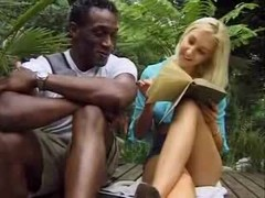 Blonde Girl Feels A Thick Black Sextoy