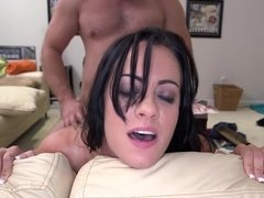 Tattooed raven haired honey named Mandy Haze riding a big dick