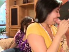 Partying CFNM babes swallowing stripper cock
