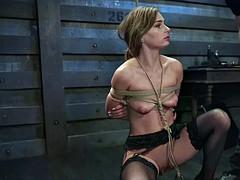Beautiful slave deep throated in bdsm