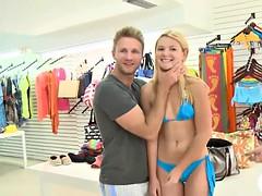 Tight blonde in bikini convinced to get fucked for cash