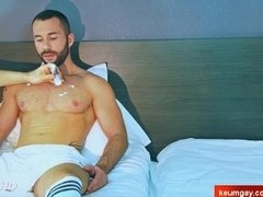 A nice innocent soccer guy serviced his big cock by a guy!