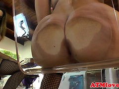 Ass gaping babes on a glass chair