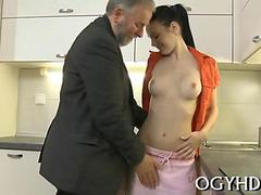 Blasting her wet pussy and she cums on the kitchen floor