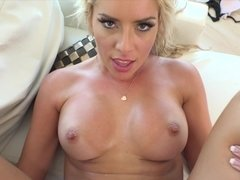 Fucking sexy tits babe Cherry Morgan in her shaved pussy