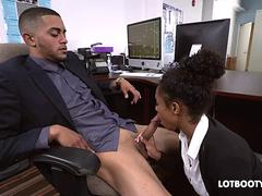 Sexy lovely secretary black Ivy Young fucked in office