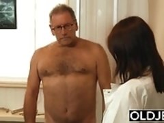 Old and Young Nurse Turns Checkup into Sex and Fucks grandpa