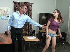 She asks her professor to help and moreover he gladly obliges