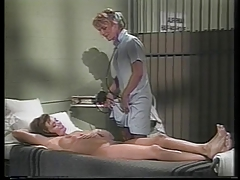 Hot nurse orders some lesbian threesome strap on fun for patient