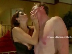 Big-breasted aroused and also dirty diva tormenting man sex thrall in her bedroom while getting down and dirty a stud in female domination brutal sex